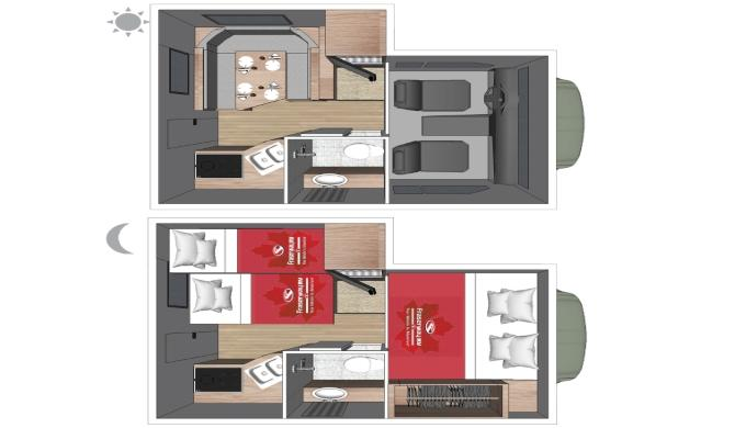 Fraserway TC Truck Camper Bunk Floor plan