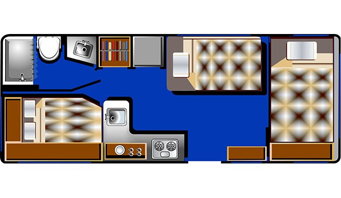 RoadBear C21-23Ft floorplan night