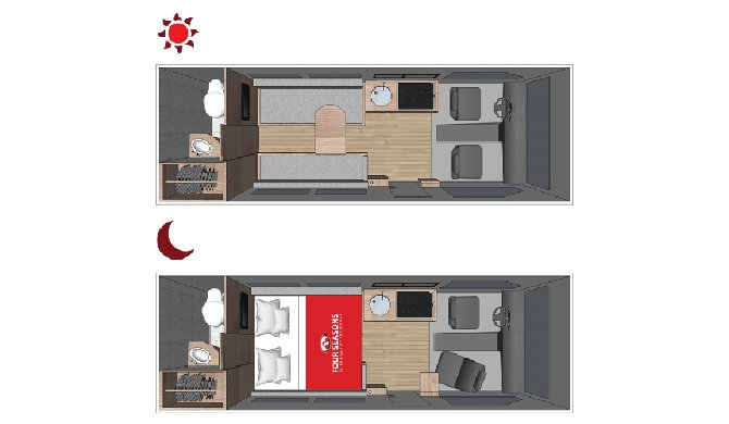 Plattegrond van de Four Seasons Van Conversion camper