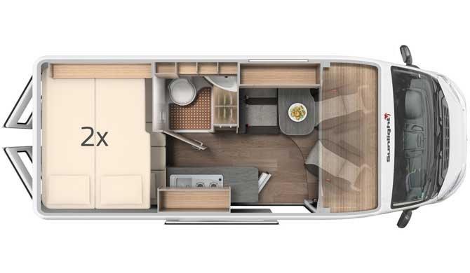 De plattegrond van de McRent Urban Luxury camper