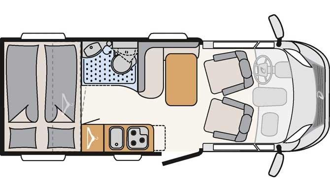 De plattegrond van de McRent Compact Plus camper