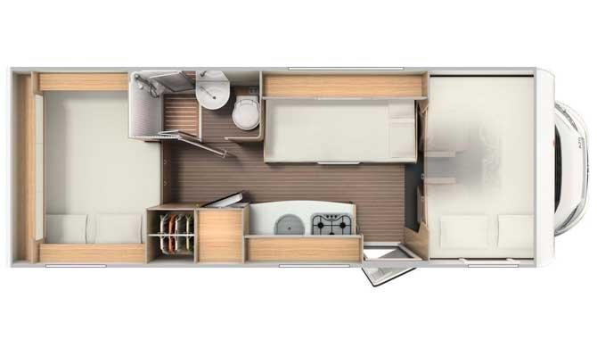 De plattegrond van de McRent Family Luxury camper
