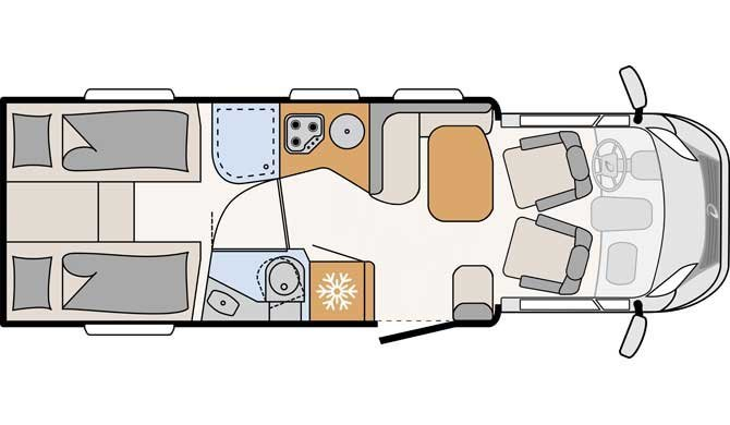Plattegrond van de McRent Comfort Standard camper