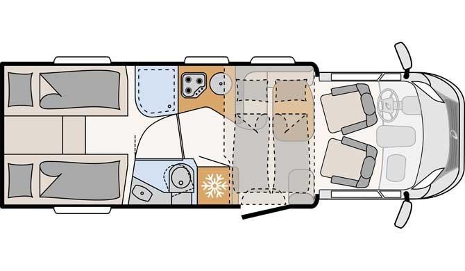 De plattegrond van de McRent Comfort Plus camper