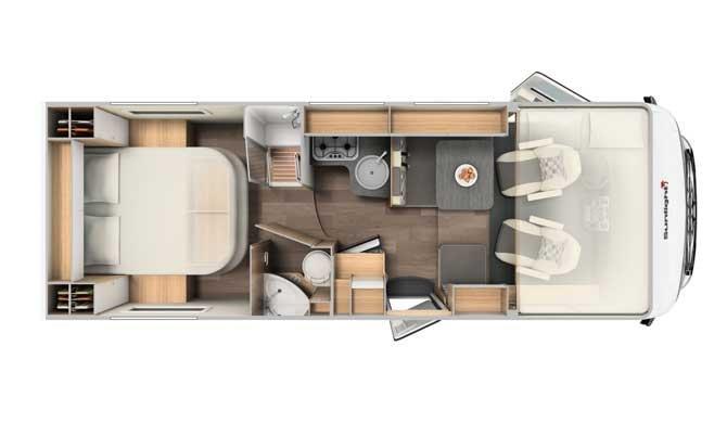 Plattegrond van de McRent Comfort Luxury camper