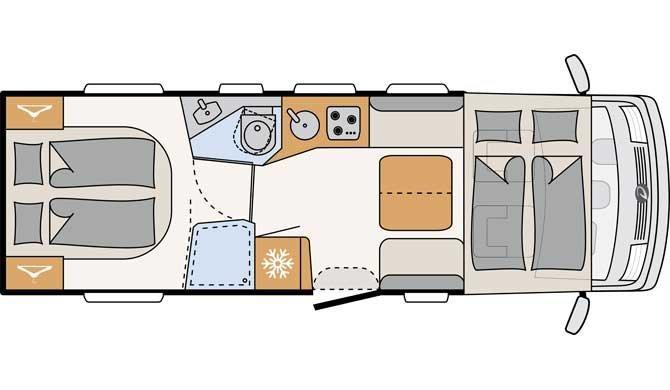 De plattegrond van de McRent Premium Standard camper