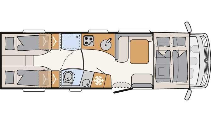 Plattegrond van de McRent Premium Luxury camper