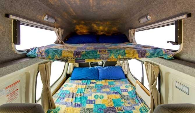Slaapruimte in de Hippie Endeavour camper