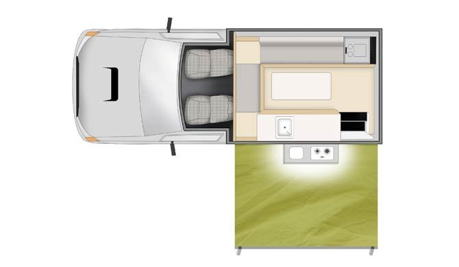 Plattegrond van de Cheapa Campa 4Wheel Drive camper