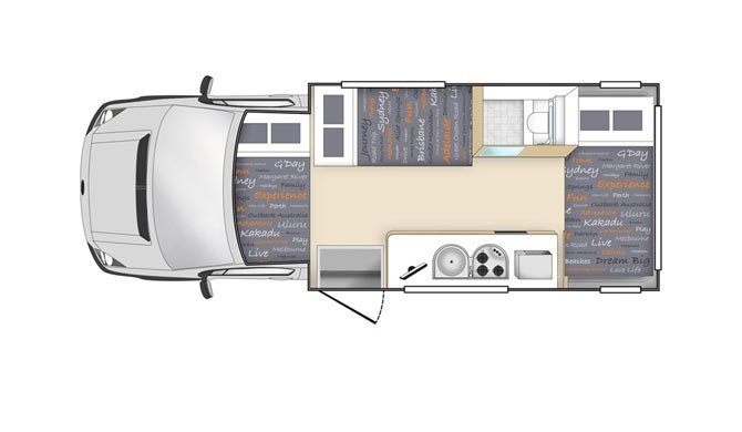 De plattegrond van de Star RV Hercules camper