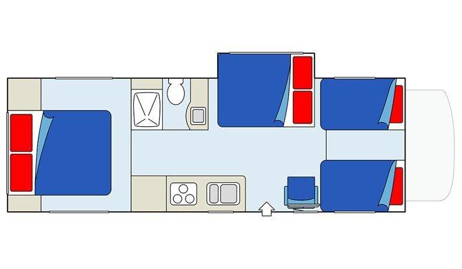 De plattegrond van de CanaDream MHA camper