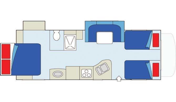 De plattegrond van de CanaDream MHB camper