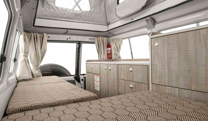 Het interieur van de Apollo Trailfinder camper