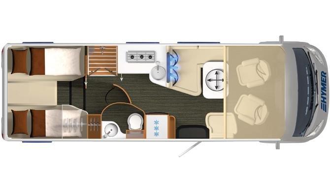 De plattegrond van de Rent Easy Premium Classic camper