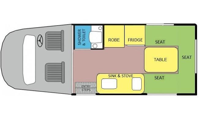 De plattegrond van de Lets Go 2 Berth Voyager camper