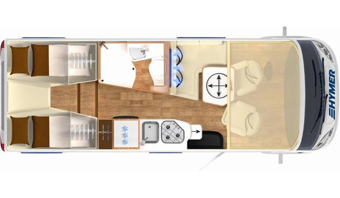 De plattegrond van de Rent Easy Exclusive First camper
