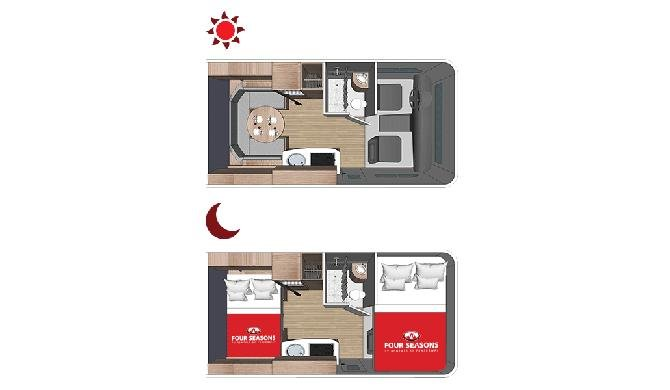 Plattegrond van de Four Seasons C-Small camper