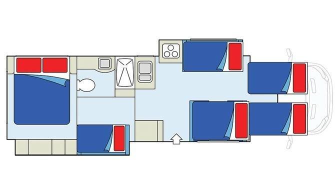 De plattegrond van de CanaDream MHX camper