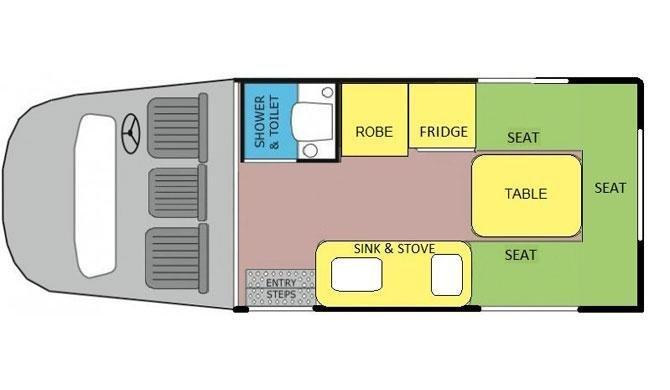 De plattegrond van de Lets Go 3 Berth Cruiser camper